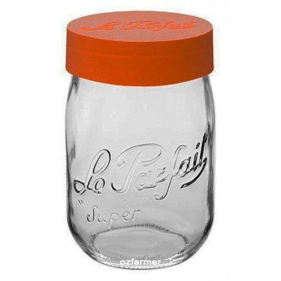 1000ml Le Parfait Storage Jar with Orange Screwtop Lid