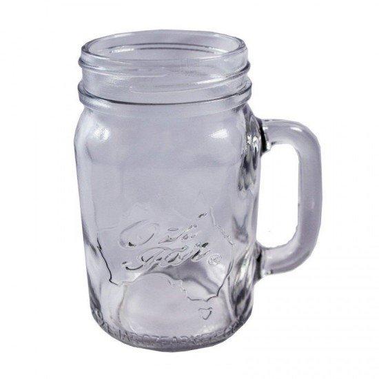 24 x Handle-Jar Ozi Jars  Beer Moonshine Glass Pint Jar Regular Mouth (Ozi Handle jar)