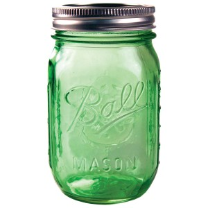 6 x Pint Heritage GREEN Ball Mason Regular Mouth Jars and Lids BPA Free.