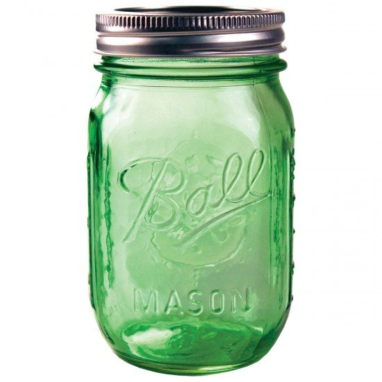6 x Pint Heritage GREEN Ball Mason Regular Mouth Jars and Lids BPA Free.