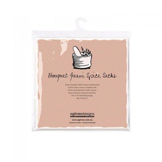 10 x Bouquet Garni Unbleached Cotton Spice Sacks (Bouquet Garni Sacks)
