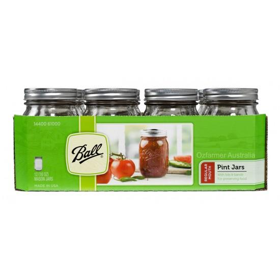 ba29349ae645 12 x Pints (440ml) Regular Mouth Ball Mason Jars and Lids BPA Free - Pint  Regular Mouth Case