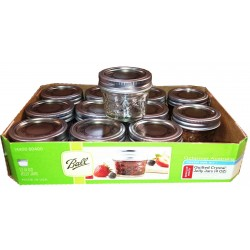 12 x Quilted 4oz Jars and Lids Ball Mason