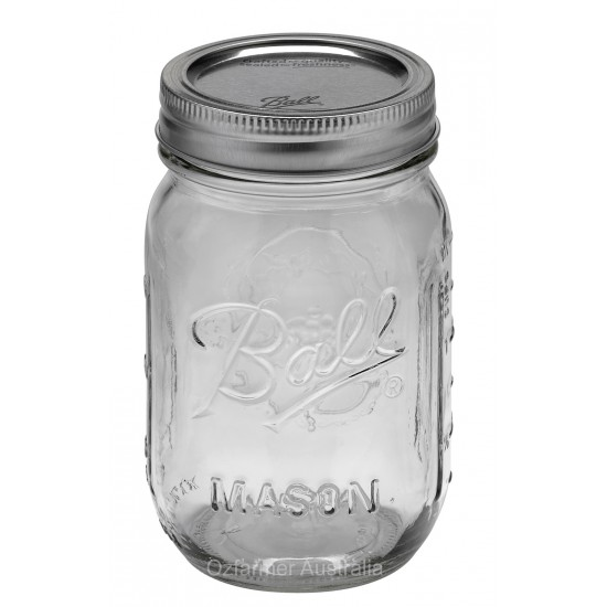 6x Pint (440ml) Regular Mouth Jars Lids