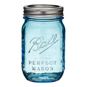 6 x Heritage Blue Pint Ball Mason Jars and Lid Limited Edition