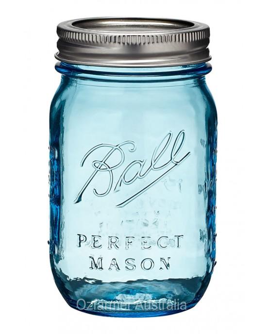 6 x Heritage Blue Pint Ball Mason Jars and Lid Limited Edition (HERITAGE BLUE JARS)