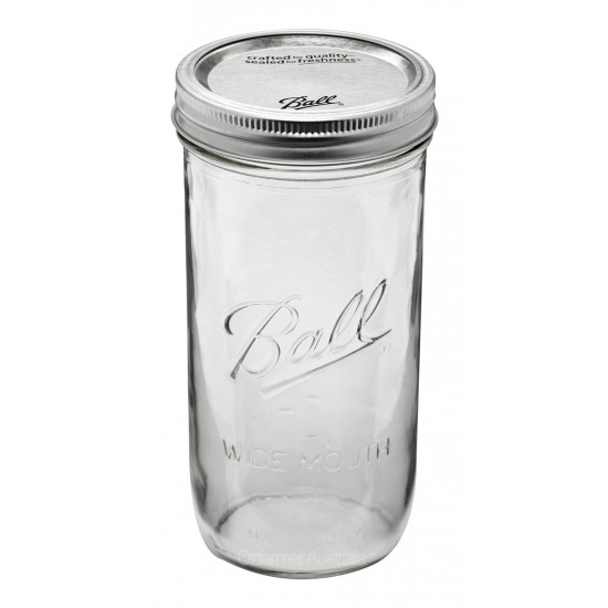 1 x Pint and a Half 24oz Wide Mouth Jar and Lid Ball Mason - Single