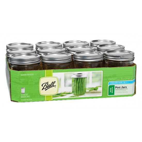 12 x Pint 16 oz Wide Mouth Jars and Lids Ball Mason
