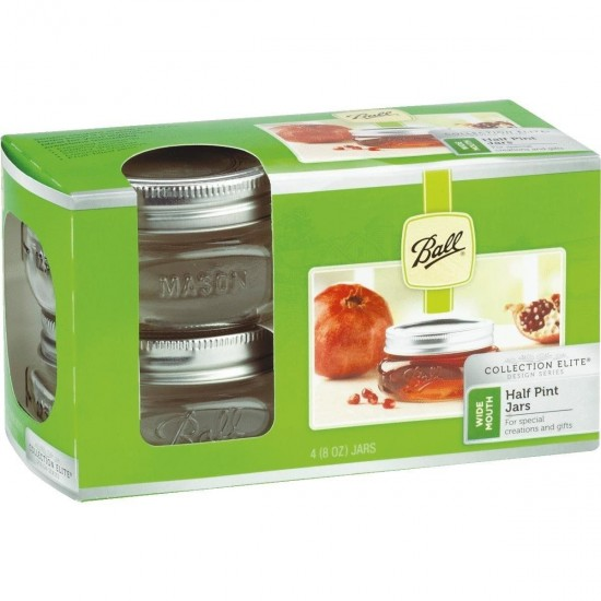 16 x Half Pint 8 oz Wide Mouth Jars and Lids Elite Collection Ball Mason