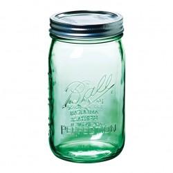 6 x Quart GREEN Wide Mouth Ball Mason Jars and Lid BPA Free.