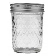6 x Quilted 8oz Half Pint Jars and Lids Ball Mason