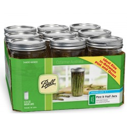 9 x Pint and a Half 24 oz Wide Mouth Jars and Lids Ball Mason