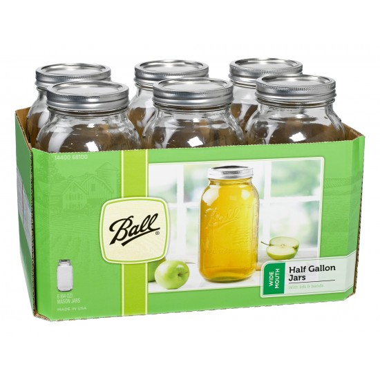 6 x Half Gallon 64 oz Wide Mouth Jars and Lids Ball Mason