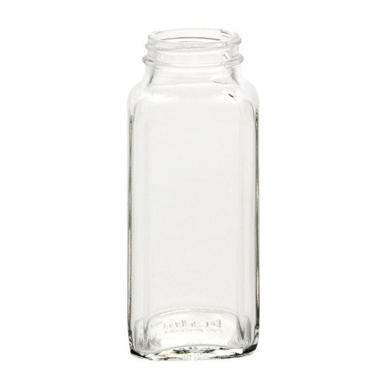 1 x Half Pint 8oz Dairy French Square Graduated Bottle  - Single Jar only (no lid)