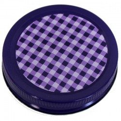 6 x Orchard Road Purple Gingham Decorative Canning Lid