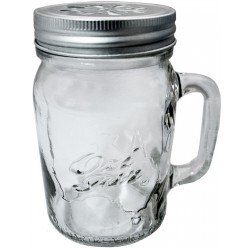 1 x Handle-Jar Beer Ozi Glass Pint Mason Jar with Straw Lid