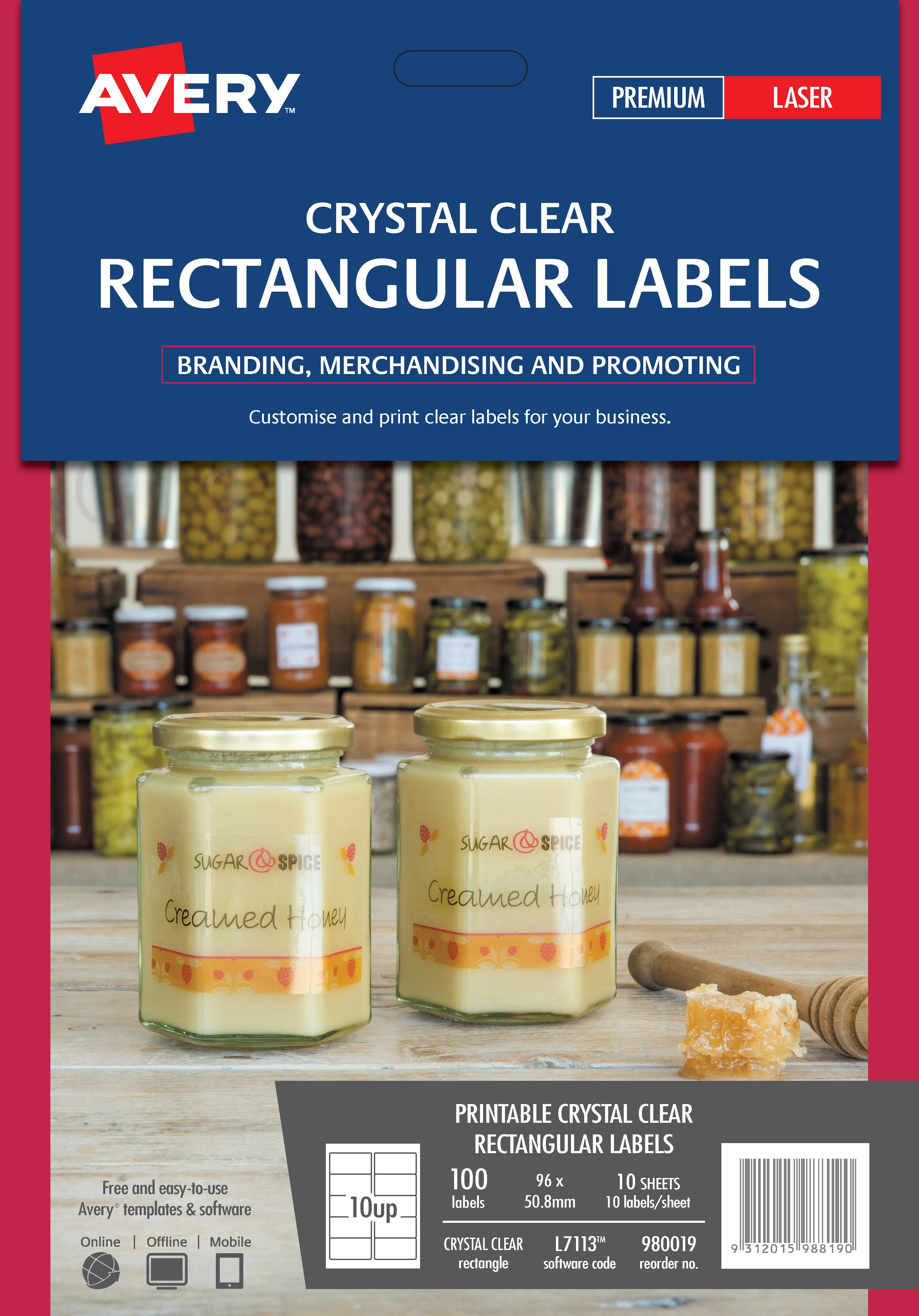 100 x Avery Crystal Clear Rectangular Product Jar Labels