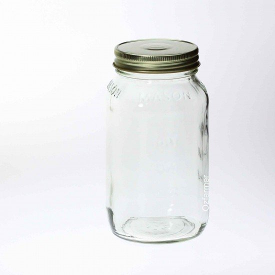12 x Bell Mason 770ml 26oz Square Jars - Lids Not Included
