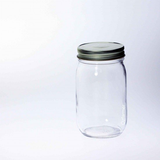 12 x Bell Mason Economy Smooth Pint 16oz Regular Mouth Jars - Lids Not Included (A16-08C)