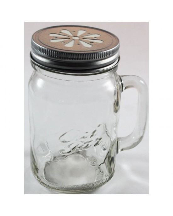 12 x Handle Jars Beer Moonshine Glass Pint Jars (500ml) LIDS NOT INCLUDED (Ozi Handle jar)