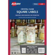 200 x Avery Crystal Clear Square Product  Canning Jar Labels FREE POSTAGE (Australia Only)