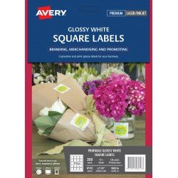 200 x Avery Glossy White Square Product Labels FREE POSTAGE (Australia Only)