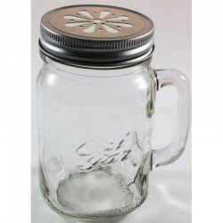 24 x Handle-Jar Ozi Jars! Beer Moonshine Glass Pint Jar Regular Mouth with Ball Mason Silver Daisy Lid.