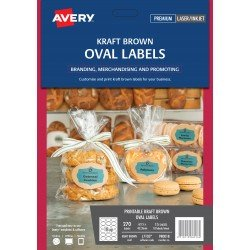 270 x Avery Kraft Brown Oval Printable Product Labels FREE POSTAGE (Australia Only)