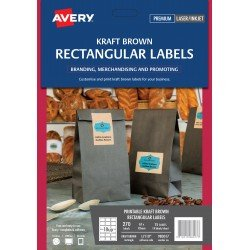 270 x Avery Kraft Brown Rectangular Product Canning Labels FREE POSTAGE (Australia Only)