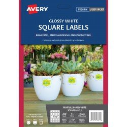 350 x Avery Glossy White Square Product Labels FREE POSTAGE (Australia Only)