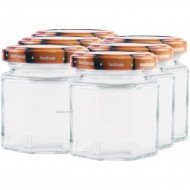 6 x 100ml Octagonal Preserving Jam Jars with Lids Rex