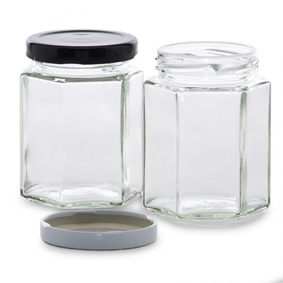 6 x 195ml Hexagonal Preserving Jam Jars with Lids Rex