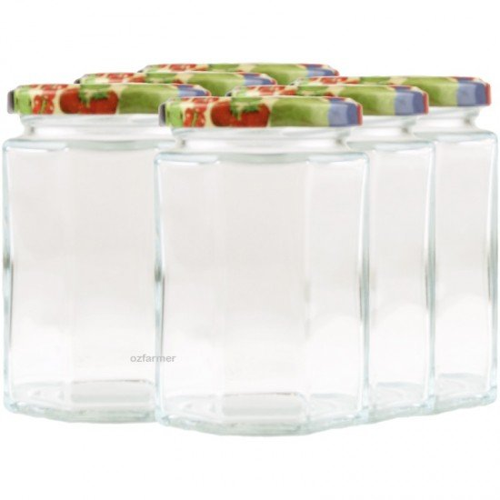 6 x 270ml Octagonal Preserving Jam Jars with Lids Rex