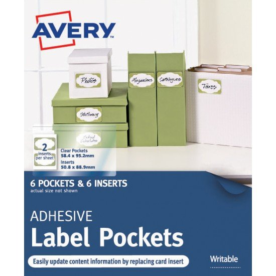 6 x Clear Adhesive Pockets with White Inserts FREE POSTAGE (Australia Only)