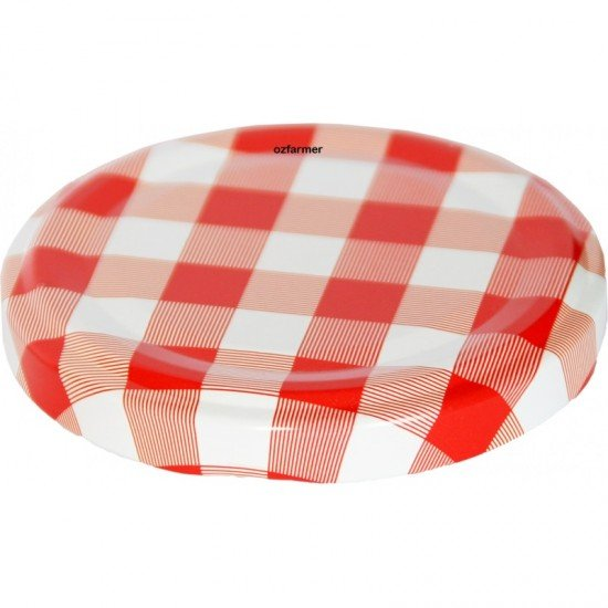 63mm Twist Top Lids Red White Check High Heat