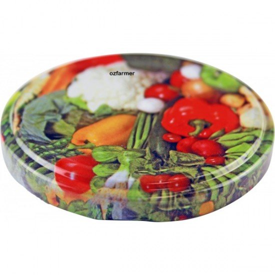 63mm Twist Top Lids with Vegetable Pattern High Heat