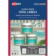 80 x Avery Glossy White Oval Product Canning Labels. FREE POSTAGE.