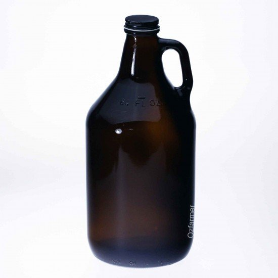 Bell Mason Amber Glass Growler Jar 64oz - Lid not included (AC1168-CA)