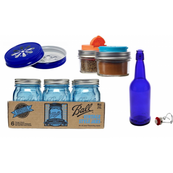 Blue Bottles / Jars Package Deal Free Shipping Australia / New Zealand