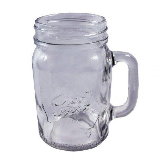 Handle-Jar Ozi Jar!  Beer Moonshine Glass Pint Jar (500ml) Regular Mouth with Silver Daisy Lid!