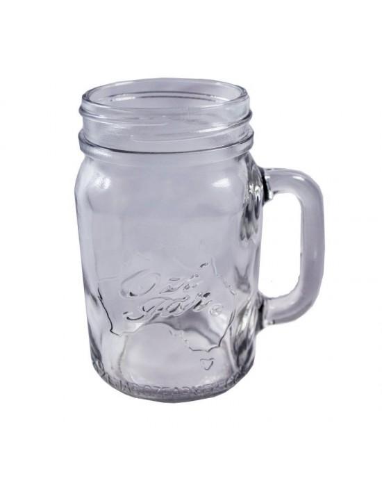 Handle-Jar Ozi Jar  Beer Moonshine Glass Pint Jar Regular Mouth (Ozi Handle jar)