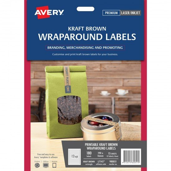 Kraft Brown Wraparound Labels Jar Top Labels 180 pack FREE POSTAGE (Australia Only) (980051)