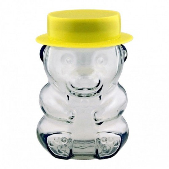 Novelty Teddy Bear Glass Jar Complete with Lid and a Yellow Hat